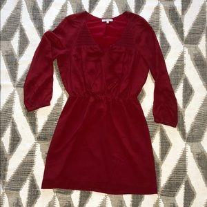 Madewell Silk Woodland Smocked Popover Dress Red
